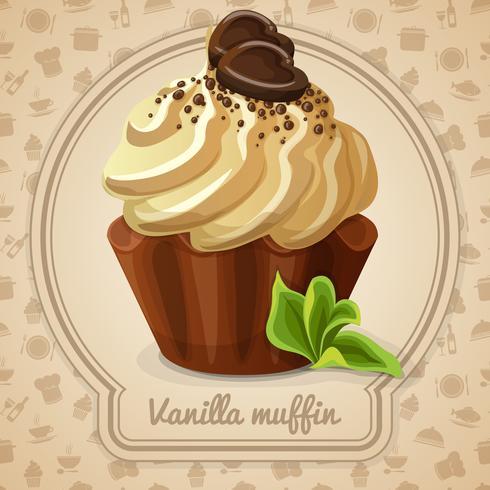 Etiqueta de muffin de vainilla vector