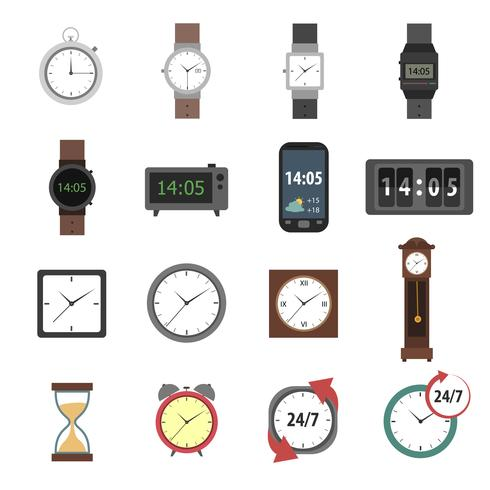 Icone di tempo piatte vettore