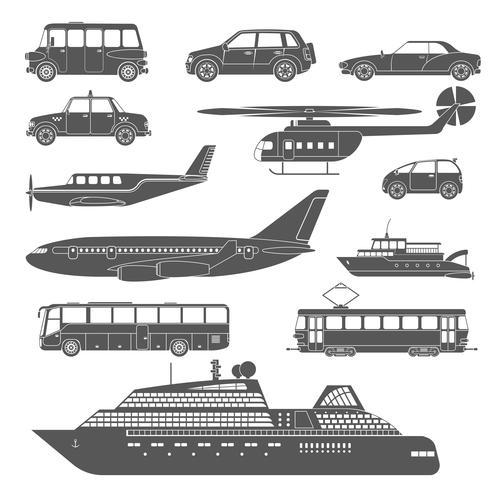 Conjunto de iconos de transporte detallado en blanco y negro vector
