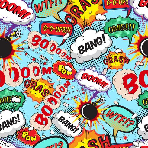 Naadloze patroon komische tekstballonnen