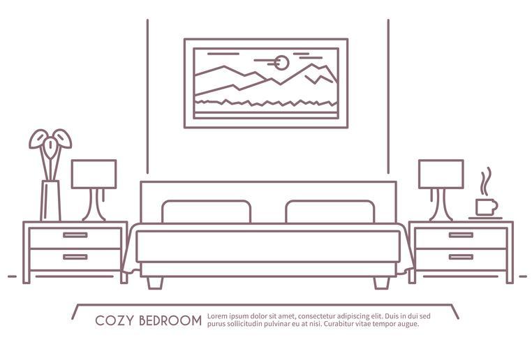 Esquema de muebles de dormitorio vector