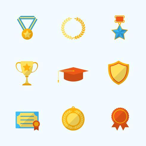 Prêmio ícones Flat Set