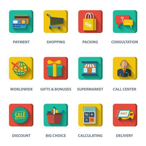 Shopping E-handels ikoner vektor