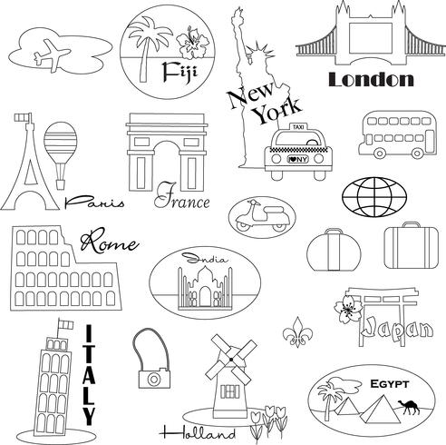 Black Outline World Travel Digital Stamps Clipart