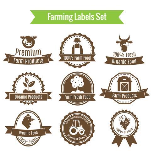 Cosecha agrícola y distintivos o etiquetas de agricultura.