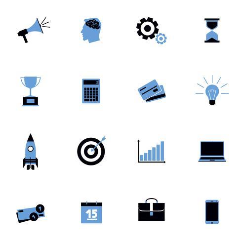 Ensemble plat d'icônes d'affaires noir et bleu