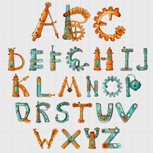 Alfabeto Mecânico Colorido
