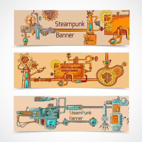 Set di banner Steampunk vettore