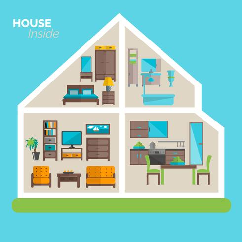 Haus innerhalb des Einrichtungsideenikonenplakats