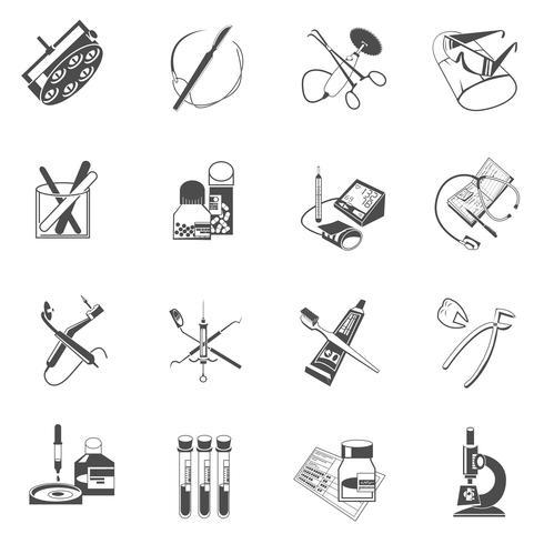 Medical healthcare icons set black