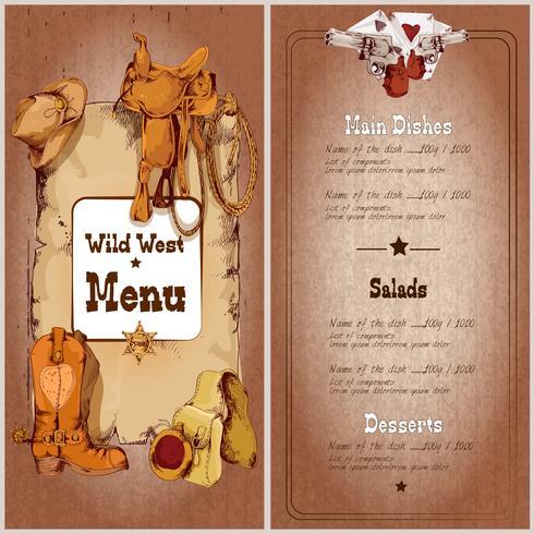 Wild west restaurant menu vector