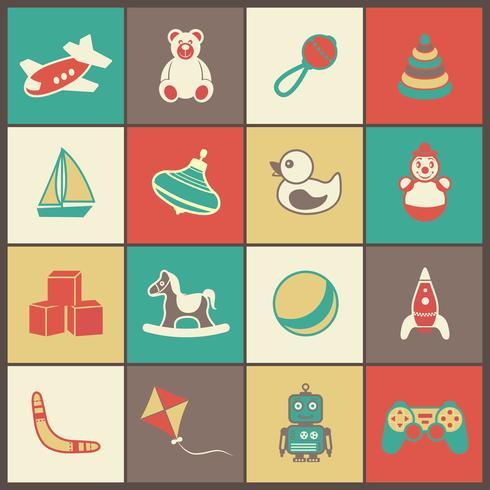 Set di icone piane di giocattoli vettore