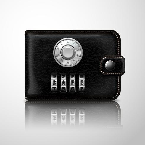 Plånboken låst med kombinationsnummer vektor