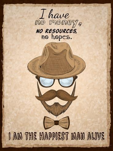 Affiche d'affiche hipster dessinée à la main vecteur