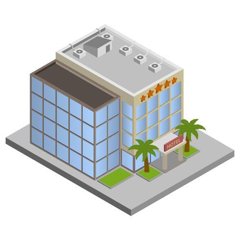 Hotel isometrisch gebouw vector