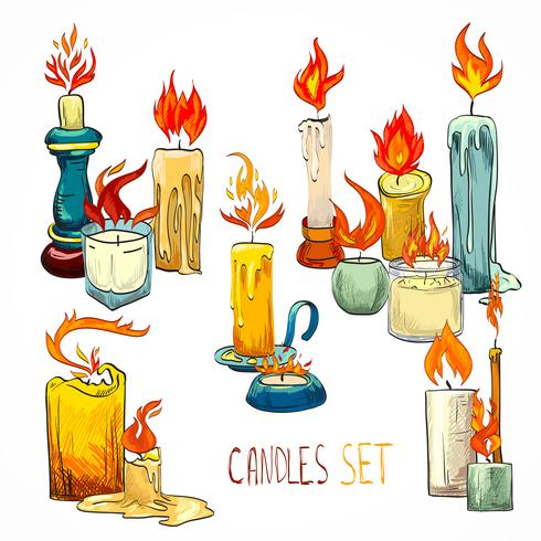 Candle set icons vector