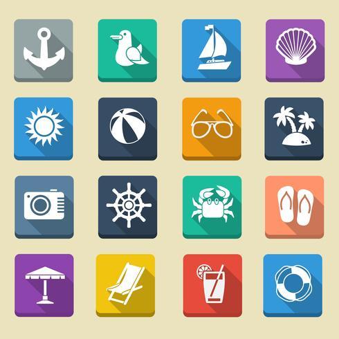Zomer zee vakantie iconen