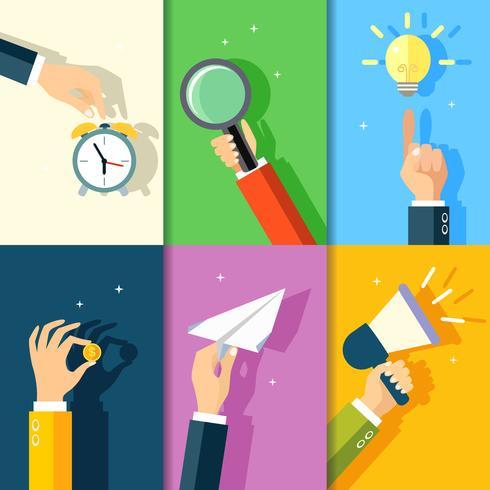 Iconos de manos de negocios vector