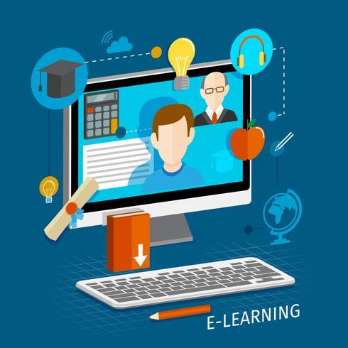 Affiche plate d'apprentissage en ligne