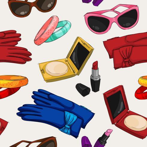 Papel pintado de accesorios de moda de mujer vector