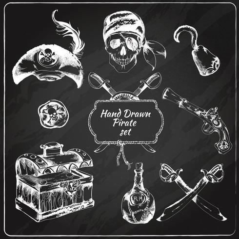 Conjunto de ícones de lousa de piratas vetor