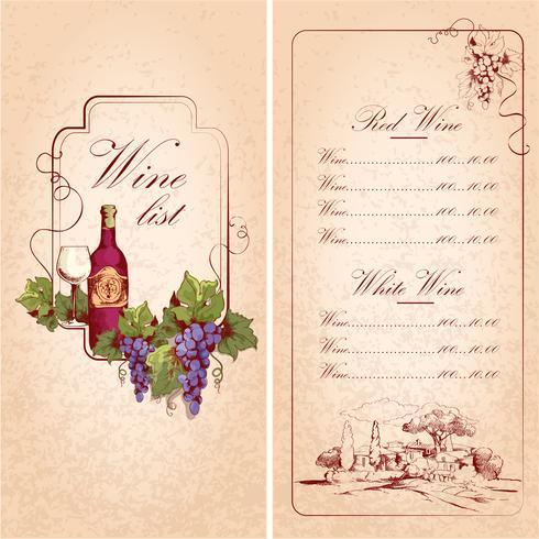 Modelo de lista de vinhos
