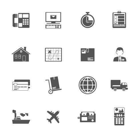 Zwart en wit logistieke service pictogram.