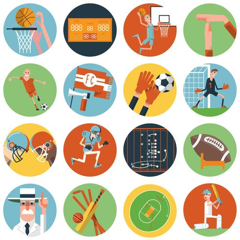 Team sport icons set flat vector