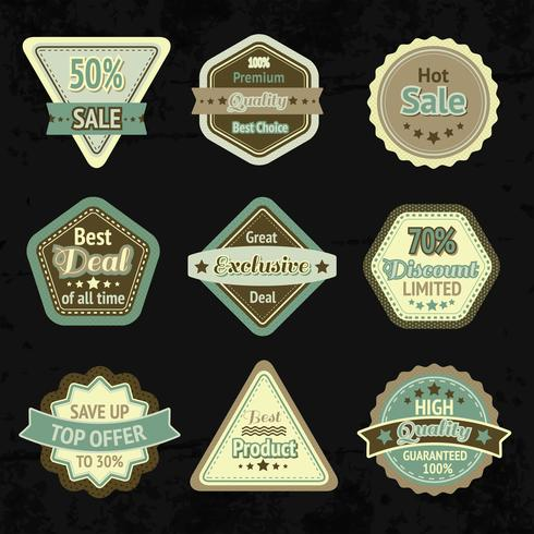 Insieme di progettazione di etichette e distintivi di vendita vettore