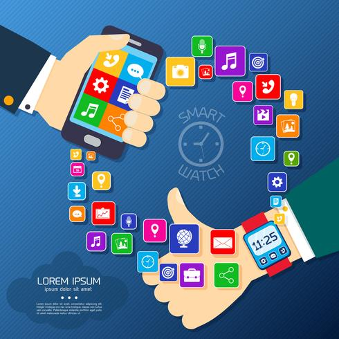 Smart watch synchro poster vector