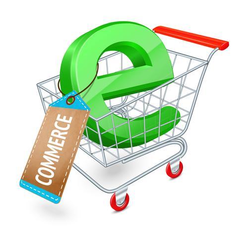 Conceito de carrinho de compras de comércio eletrônico vetor