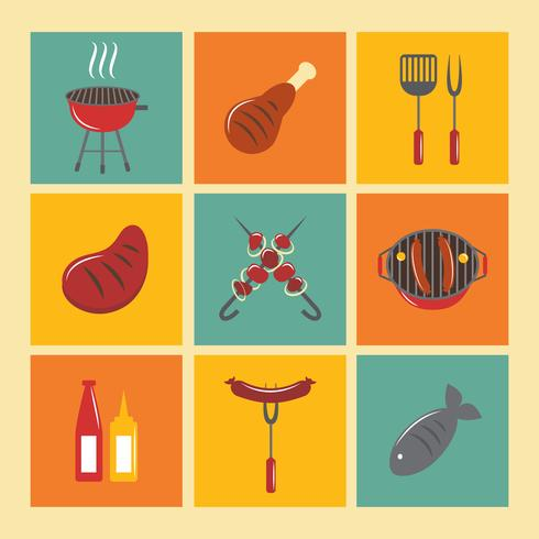 Bbq Grill Icons flach gesetzt vektor