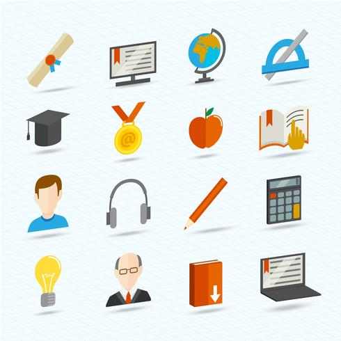 E-learning iconos planos