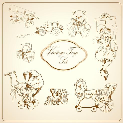 Set di icone disegnate giocattoli retrò vettore