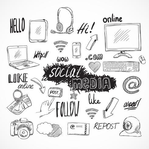 Jeu d'icônes de médias sociaux Doodle vecteur
