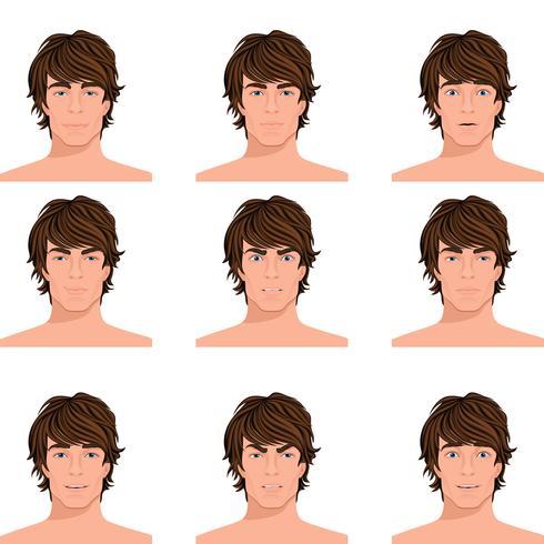 Ensemble de portraits d'émotions de tête d'homme