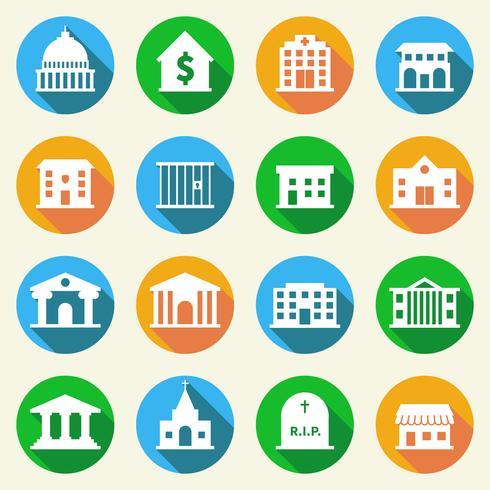 Iconos de edificios gubernamentales plana vector