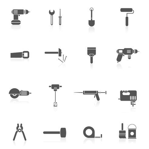 Icono de herramientas de reparación de casa plana