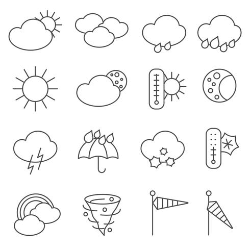 Setze Linie der Wettervorhersage-Symbolikonen vektor