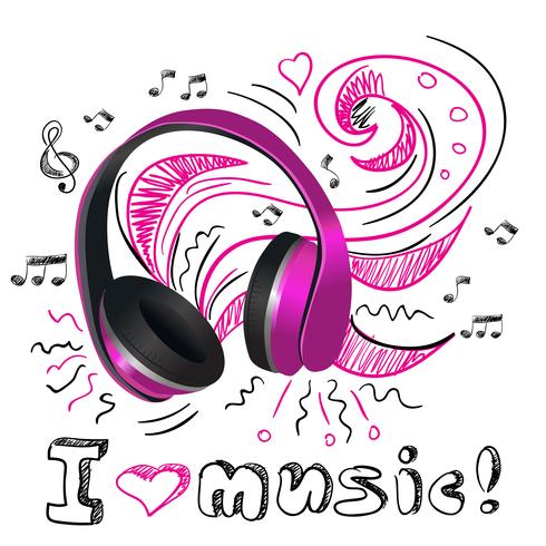 Muziek doodle koptelefoons