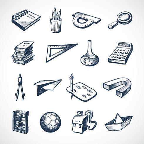 School schets iconen