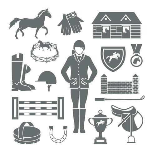 Jockey Icons Black vector
