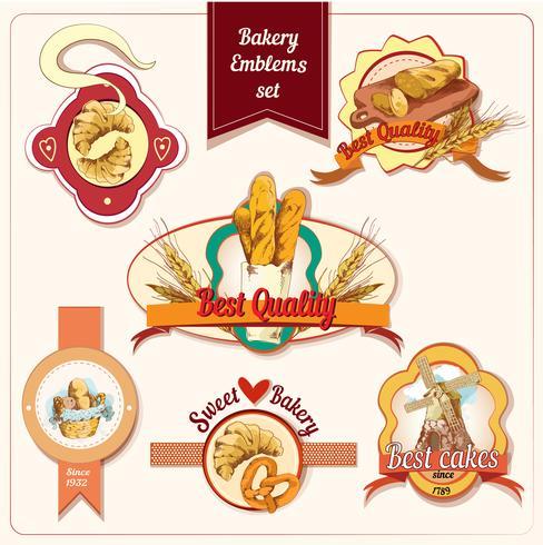 Bäckerei-Embleme gesetzt vektor