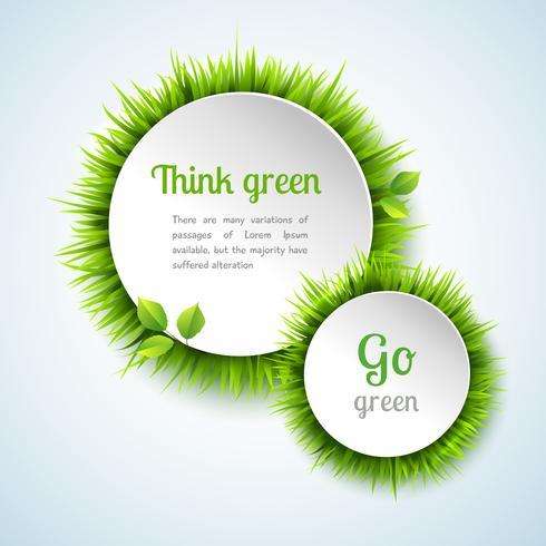 Gräs dubbel cirkelsramsats vektor