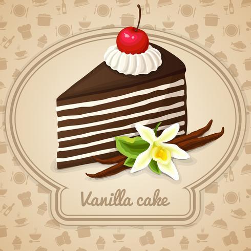 Cartel de pastel de vainilla en capas vector
