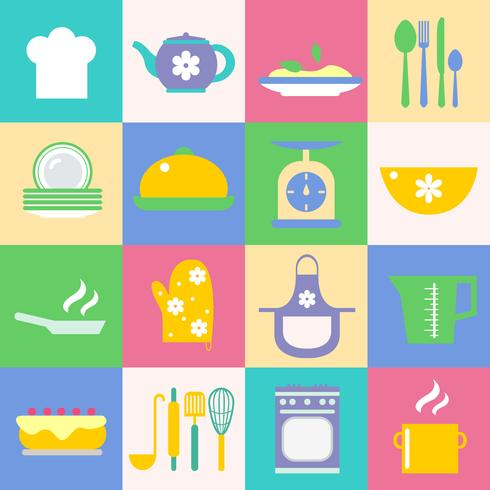 Cuisine and kitchen icons set