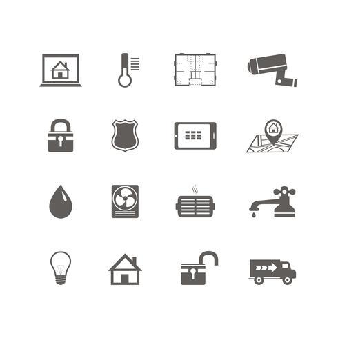 Set di icone di tecnologia domotica intelligente vettore