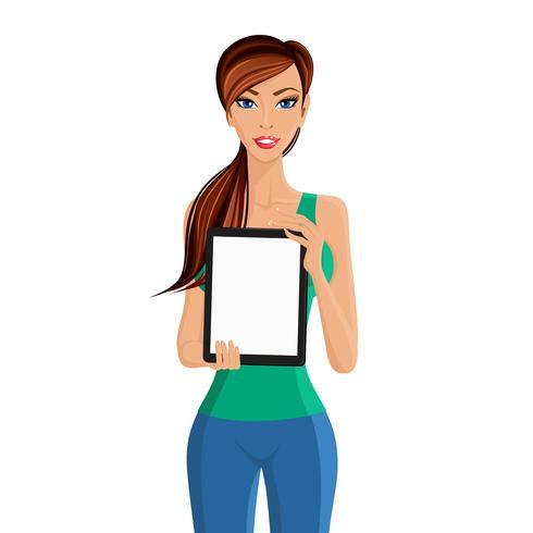 Mulher, mostrando, tabuleta, computador, retrato