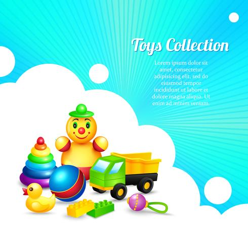 Kids toys composition vector