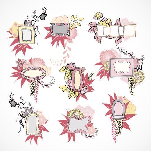 Floral decoratieve doodle kaders instellen